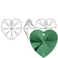 Emerald 6228 Swarovski Crystal Heart Pendant 18mm PK1